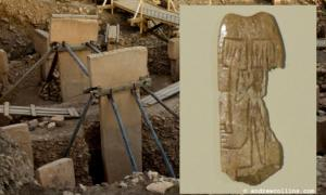 Main: The twin pillars at Göbekli Tepe (g.frilli / flickr). Inset: The tiny bone plaque found at Göbekli Tepe and now on display at Sanliurfa's new archaeological museum.