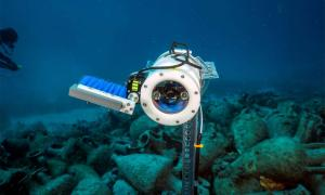 A closeup of one of the underwater AI robot cameras at the shipwreck site in the Aegean Sea, Greece             Source: NOUS