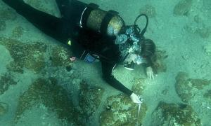 A diver exploring the newly-discovered Greek city in the Aegean Sea