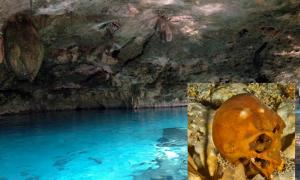 Main: A cenote in Tulum, Mexico. Inset: Ancient skull found in Tulum cenote.