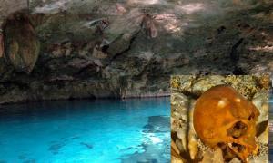 Main: A cenote in Tulum, Mexico. Inset: Ancient skull found in Tulum cenote.