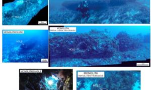A series of photos of the monolith on the sea floor Note the precise hole in the monolith as photographed by a diver studying the now-submerged area off the coasts of Tunisia and Sicily.
