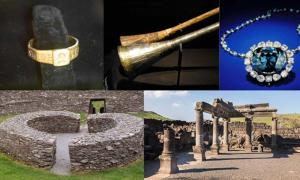 "Some unlucky artifacts and cursed sites: The Ring of Silvianus (CC BY 2.0), Tutankhamun's silver trumpet with wooden insert (Meridianos), the Hope Diamond (CC BY-SA 4.0), Stone ringfort, ""Ring of Kerry"" in Ireland (Francis Bijl/ CC BY 2.0 ), and ruins of an ancient synagogue at Chorazin. (Lev.Tsimbler/CC BY SA 4.0)"