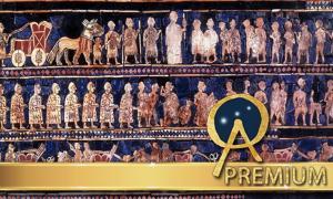 "Standard of Ur, 26th century BC, ""War"" panel."