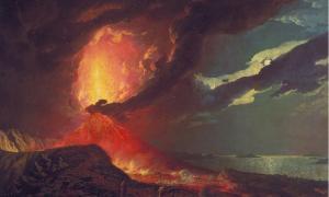 The dramatic eruption of Mt Vesuvius.