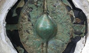 The stunning conserved warrior shield found at the site in Pocklington.