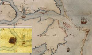 Researchers at the British Musuem examined John White's watercolor map using spectroscopy and found the X under a patch on the map.