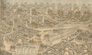 A watercolor painting overview of the Ming Tombs. (1875-1908)