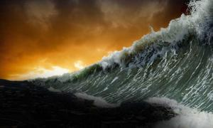 Tsunami. Image copyright © Dustin Naef. Mount Shasta's Legends & Forgotten History, 2016.