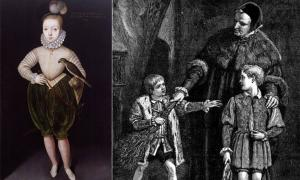 "Whipping boys were used by aristocrats and royalty.  Source: Left; King James I of England and VI of Scotland, Public domain Right;  ""Edward and Whipping Boy"" illustration by Walter S. Stacey, Public domain"