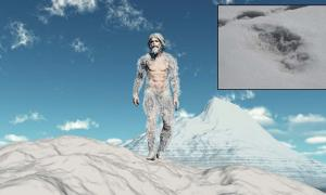 Representation of a yeti and the Indian army photo of Yeti footprints