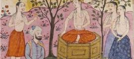 This 14th-century Persian painting portrays a scene from the Kushnameh in what scholars believe could be the betrothal of prince Abtin (kneeling) and Silla princess Frarang (sitting). (Hanyang University Museum)