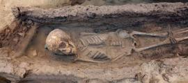 The skeleton of a child between the age of 6 and 9 found with various grave goods.