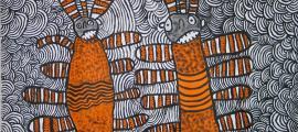 Nura Rupert, Australia, c.1933. Pitjantjatjara people, South Australia, Mamu (Spooky spirits) 2006, Ernabella, South Australia, synthetic polymer paint on linen 92x122cm. Ed and Sue Tweddell Fund for South Australian Contemporary Art 2006. Art Gallery of South Australia, Adelaide.            Source: © Nura Rupert, courtesy of Ernabella Arts.