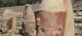 Amenhotep III and Royal Priest Limestone Heads Discovered in Ruins in Egypt