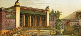 Virtual recreation by Charles Chipiez. A panoramic view of the gardens and outside of the Palace of Darius I of Persia in Persepolis.