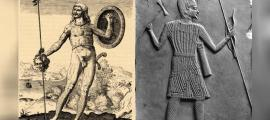 Left: Pictish warrior (public domain) Right: Scythian Warrior with Axe, Bow, and Spear.