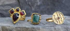 Three of the rings up for auction.