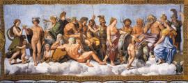 Assembly of twenty gods, predominantly the Twelve Olympians, as they receive Psyche (Loggia di Psiche, 1518–19, by Raphael and his school, at the Villa Farnesina).