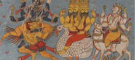 A page of a Bhagavata Purana illustrated manuscript in Devanagari. Illustration depicts Vishnu, Brahma and Shiva seated on their respective vahanas.