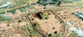 An illustration of North America's first city, Cahokia.