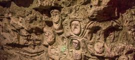 Carving in Chislehurst Caves.