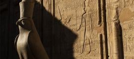 The god Horus represented by a falcon at the Temple of Edfu. Source: Edyta / Adobe Stock