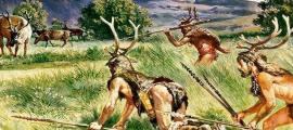 Artist's impression of prehistoric hunters.