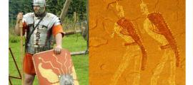 Deriv; Left, Roman legionnaire reenactor in period gear. Right, Jabbaren rock painting (Via author)