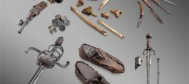 """Glacier artifacts. The bones and personal belongings of the """"Théodule Pass mercenary"""", an unidentified man thought to have fallen into a crevasse above Zermatt in the 17th century."""