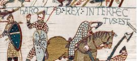 Bayeux Tapestry - The death of King Harold Godwinson at the Battle of Hastings.