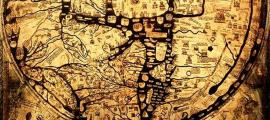 "Detail, the medieval Hereford Mappa Mundi, ""Cloth of the World"" in Hereford, England. Circa 1300."