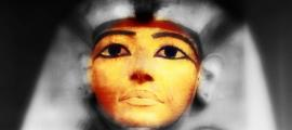 Face of the coffin where the mummy of Ramesses II was found. (Credit: Petra Lether, designed by Anand Balaji)