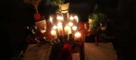 A modern Pagan Wiccan altar set up.