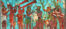 Mayan Music: A painted image of a file of Mayan musicians playing rattle, ocarina, and trumpets while a theatrical scene goes on.