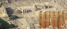 Aerial view of Thebes' Ramesseum, showing pylons and secondary buildings and the Medical Papyri.