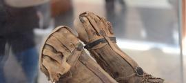 Mummified feet on display at museum.