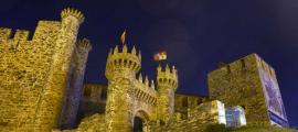 Ponferrada Castle, 'Castle of the Templars, Leon, Northern Spain. 12th century Castle of Ponferrada by night.