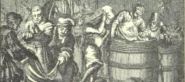 """Ertränken im Fass oder Sack"", a 1560 sketch showing 'punishment of the sack'."