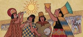 Inca in a religious event. The Inca civilization is accredited with the first peanut paste.