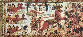 Pharaoh Tutankhamun riding a chariot