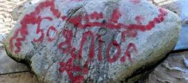 Plymouth Rock covered in graffiti.    Source: WCVB Viewer