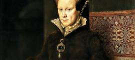 Detail of Portrait of Mary Tudor. Oil on panel by Antonio Moro. Prado Museum. Madrid Spain.