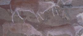 Prehistoric rock art on a cave wall in Drakensberg, South Africa