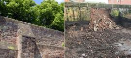 Roman wall in Chester, England. Before: Peter / Adobe Stock. After: Chester Live