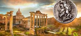 Ruins of Roman Forum in Rome, Italy during sunrise. (twindesigner /Adobe Stock) Insert: Denarius featuring the laureate, long-haired, and bearded head of Quirinus (Romulus).