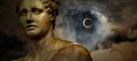 Unusual celestial or weather phenomena heralded supernatural disappearances in the classical world. What became of the Roman leader Romulus?  Deriv; Solar Eclipse (Flickr/CC BY 2.0), and Roman Statue (Flickr/CC BY 2.0)