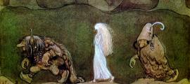 Painting by John Bauer of two trolls with a human child they have raised
