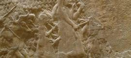 'Siege of Lachish'. Credit: The British Museum; photo by C. Reeder. This relief from Sennacherib's palace in Nineveh celebrates the Assyrian destruction of the Judaean city of Lachish. Women and children, followed by a man driving oxen, flee from the besieged city.