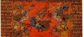 A manuscript illustration of the Sky Battle of Kurukshetra, fought between the Kauravas and the Pandavas, recorded in the Mahabharata Epic